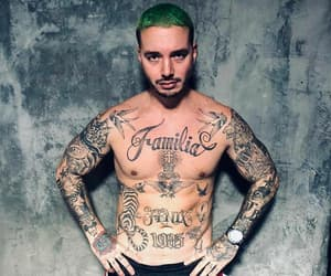 chest, green hair, and jbalvin image