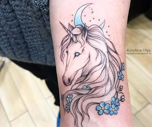 body art, ink, and moon tattoo image