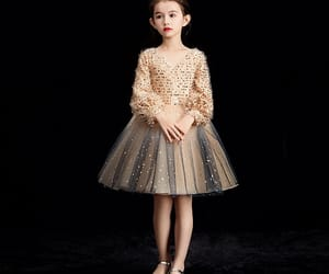 little girl, wedding party dress, and glitter tulle image