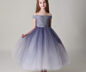 purple dress, flower girl dress, and tulle image