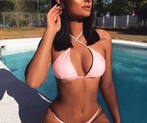 bikini, piercing, and poolside image