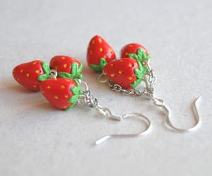 earrings, jewelry, and strawberries image