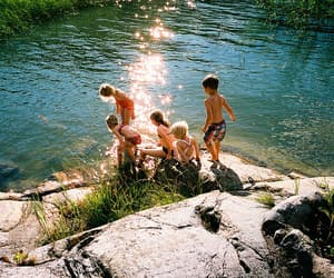 family children beautiful and lake water holiday image