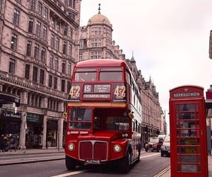 london, red bus, and wanderlust image