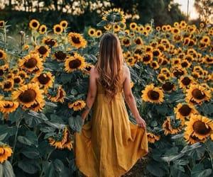 girl, sunflower, and yellow image