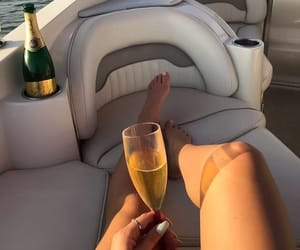 boat, champagne, and life image