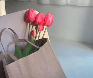 aesthetics, brown paper bag, and florals image