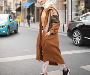 long jacket, trench jacket, and camel coat hijab image