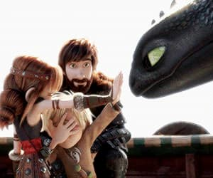 astrid, hiccup, and night fury image