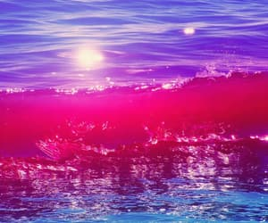 blue, pink, and ocean image
