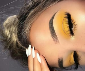 makeup, yellow, and nails image