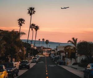 los angeles, plane, and sunset image