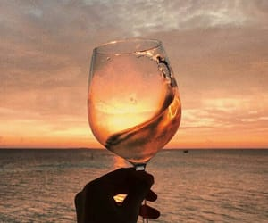 wine, beach, and ocean image
