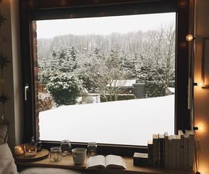 books, snowflake, and coffee image