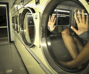 girl, laundry, and trapped image