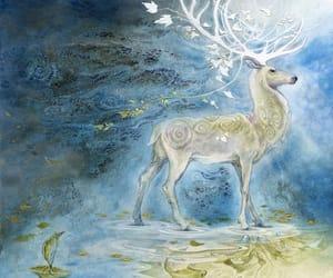 art, deer, and illustration image