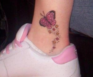 art, shoes, and butterfly image