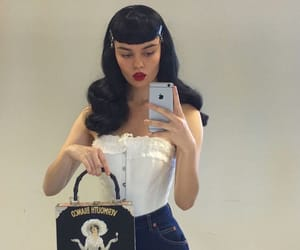 corset, hairstyle, and Pin Up image