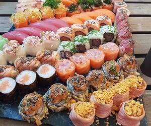 food, porn food, and sushi image