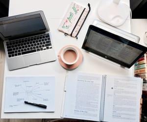 study, laptop, and school image