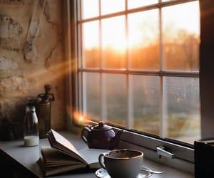 books, sunrise, and coffee image