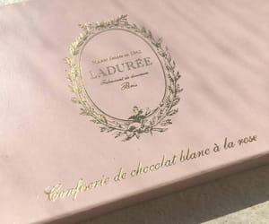box, cake, and gold image
