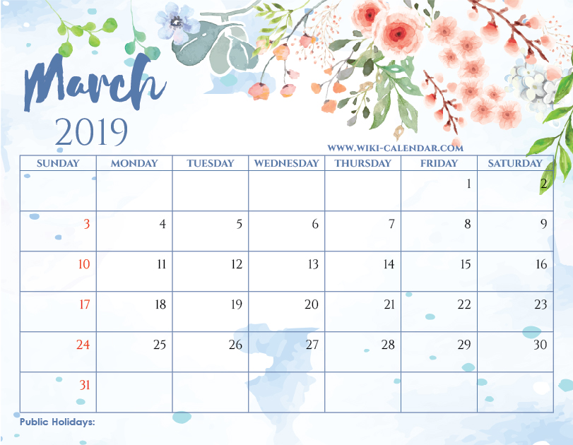 Printable Calendar March 2019.Blank March 2019 Calendar Printable On We Heart It
