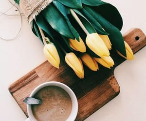 coffee, flowers, and mood image