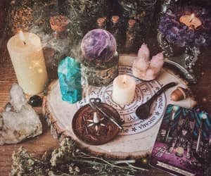altar, candles, and tarot image