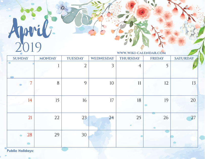 Calendars Printable 2019 Blank April 2019 Calendar Printable on We Heart It
