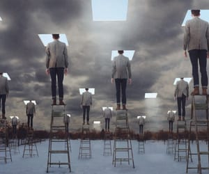 men, sky, and surrealism image