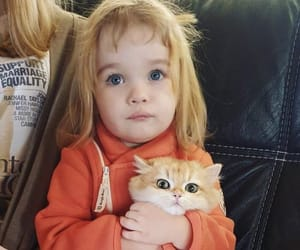 blonde, cat, and child image