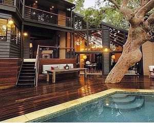 house, pool, and tree image