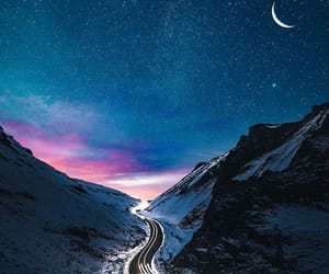 moon, mountains, and path image
