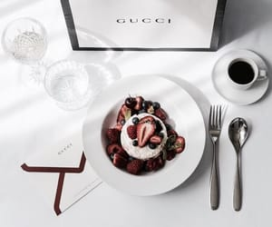 gucci, food, and coffee image