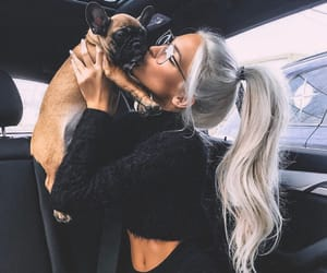 girl, dog, and beauty image