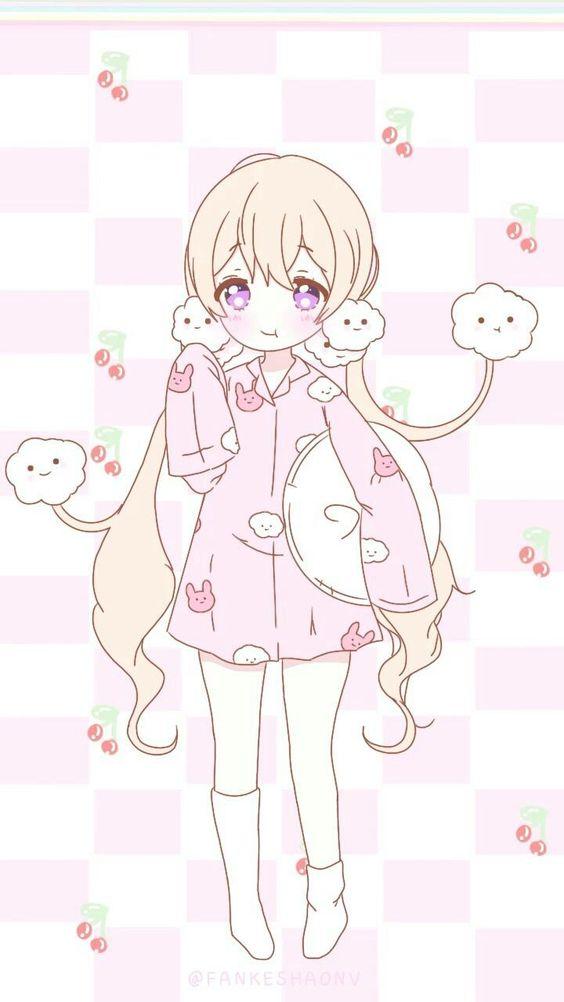 anime pink cute girl art on instagram & pixiv [anime girl, pastel ...