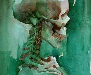 art, painting, and skeleton image
