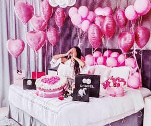 girl, pink, and balloons image