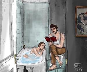 bath, books, and couple image