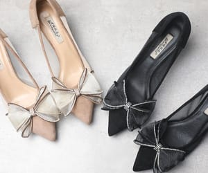 bow, leather, and pointed toe image