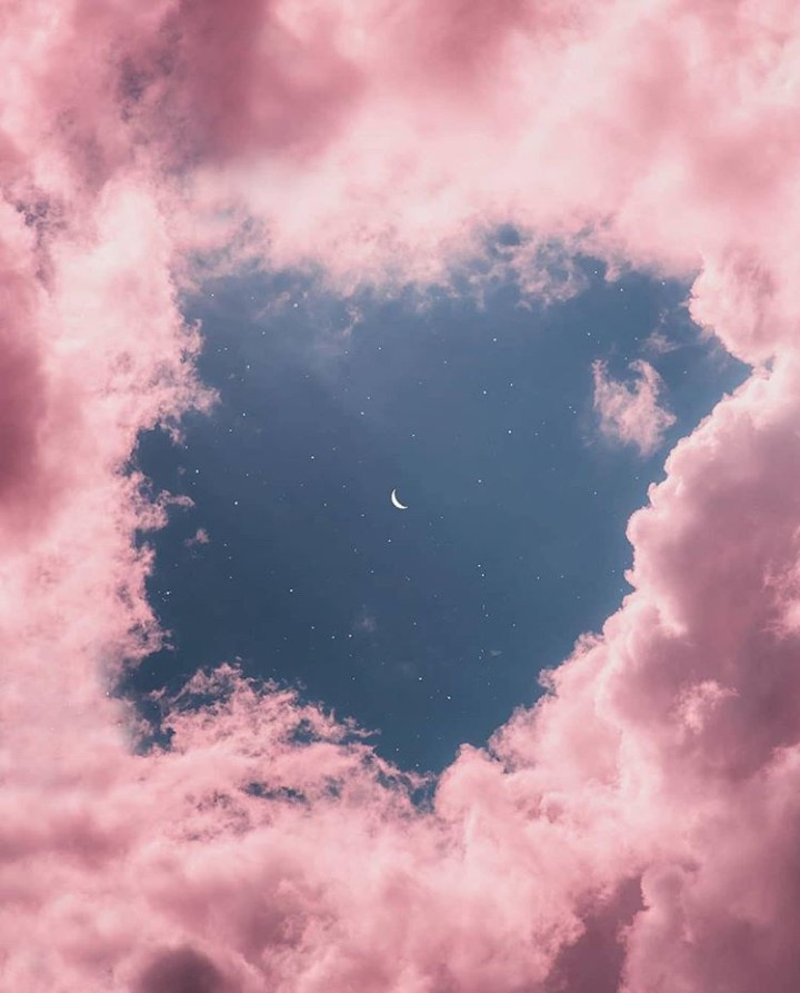 sky, pink, and moon image