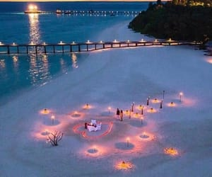 beach, romantic, and heart image