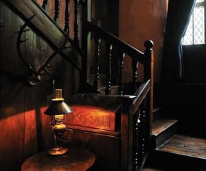 dark wood, lamp, and woodwork image