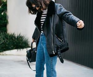 beautiful, fashion, and leather jacket image