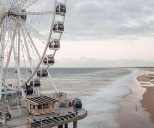 beach, ferris wheel, and netherlands image