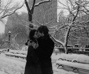 couple, kiss, and winter image