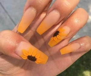 nails, sunflower, and flowers image
