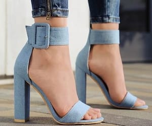 denim, high heels, and shoes image