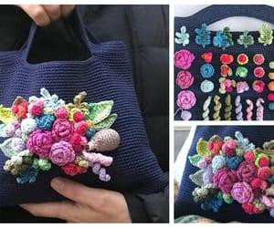 crochet, handbag, and flower image